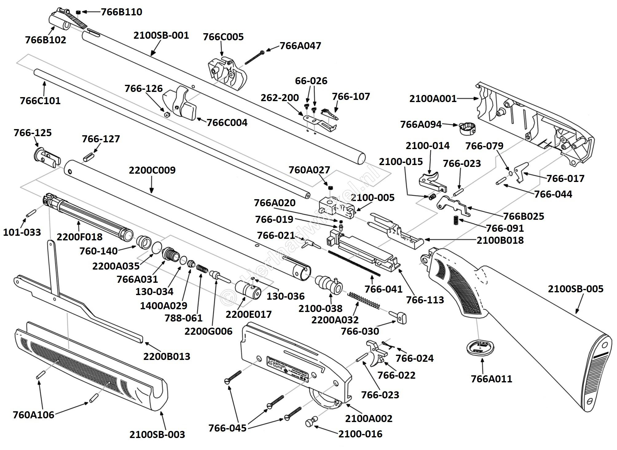 2100SB, Parts Drawing Crosman Classic 2100SB
