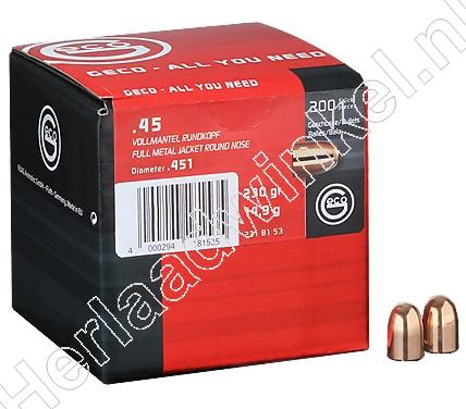 Geco Kogels kaliber .45, 230 grain Full Metal Jacket verpakking 200