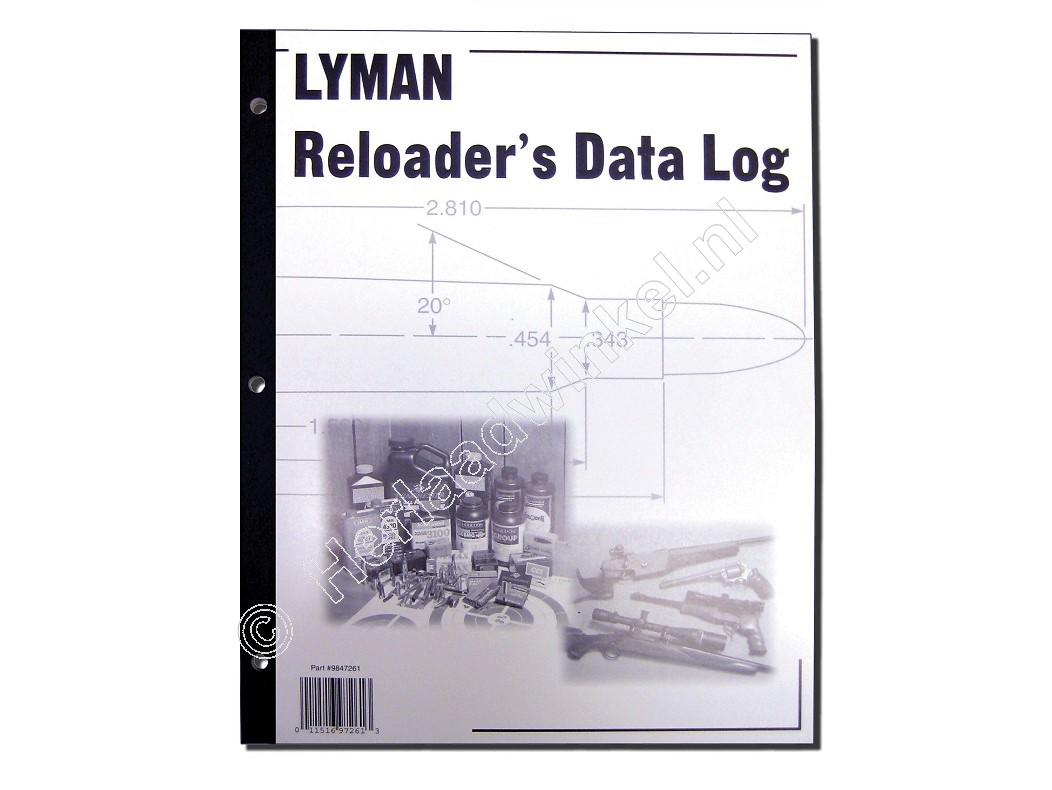 Lyman RELOADERS DATA LOG Herlaad Logboek