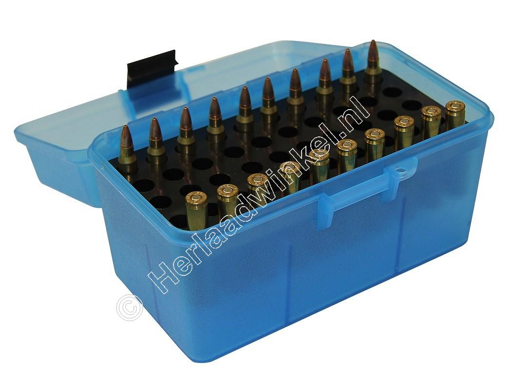 MTM H50RS DELUXE Ammo Box CLEAR BLUE content 50
