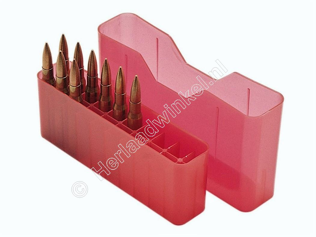 MTM J20L Slip-Top Ammo Box CLEAR RED content 20