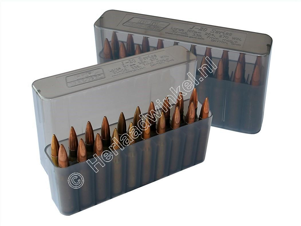 MTM J20XS Slip-Top Ammo Box CLEAR SMOKE content 20