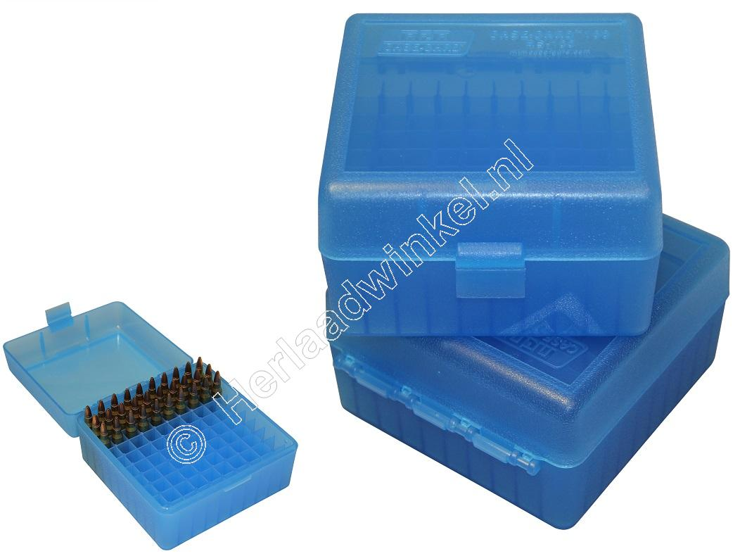 MTM RS100 Flip-Top Ammo Box CLEAR BLUE content 100